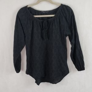 PRANA black embroidered on black top size small